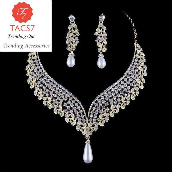 Women Lady Wedding Bridal Crystal Pearl Rhinestone Necklace Earring Jewelry Set