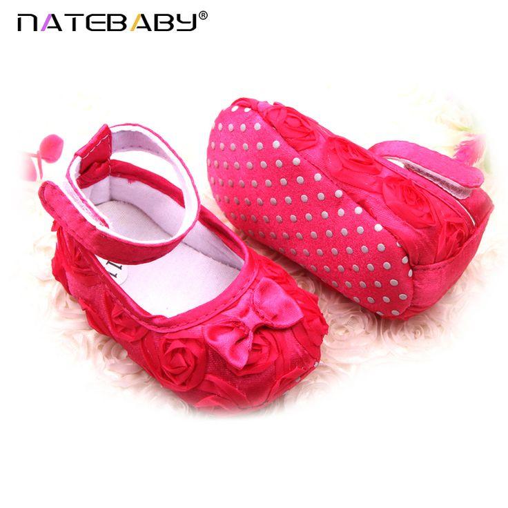 Natebaby Sapatos de Bebê Comércio exterior Fornecimento Grossista De Rosas Cor Pura Do Bebê Sapatos Sapatos Da Criança Princesa Sapatos 0050 NA1177