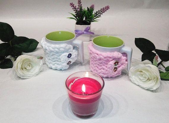 Pair of mug cozy mug cozy white pink Valentine gift by knittyshop