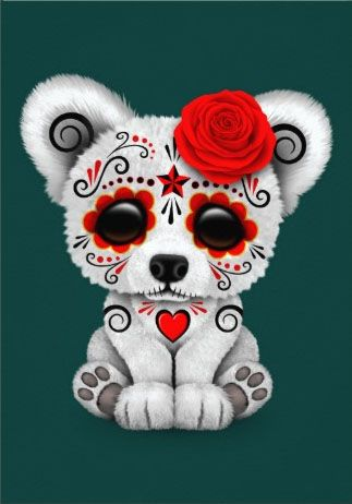 Red Day of the Dead Sugar Skull Bear Teal Blue   Jeff Bartels