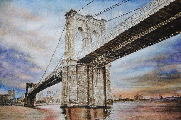 The Sentinel – Brooklyn Bridge – NY - USA, aquarelle 53 x 36, Fabriano 300gr, Original 600 Euro, Exclusive high end imprint on aquarelle paper - 100 Euro www.sandorszikszai.com