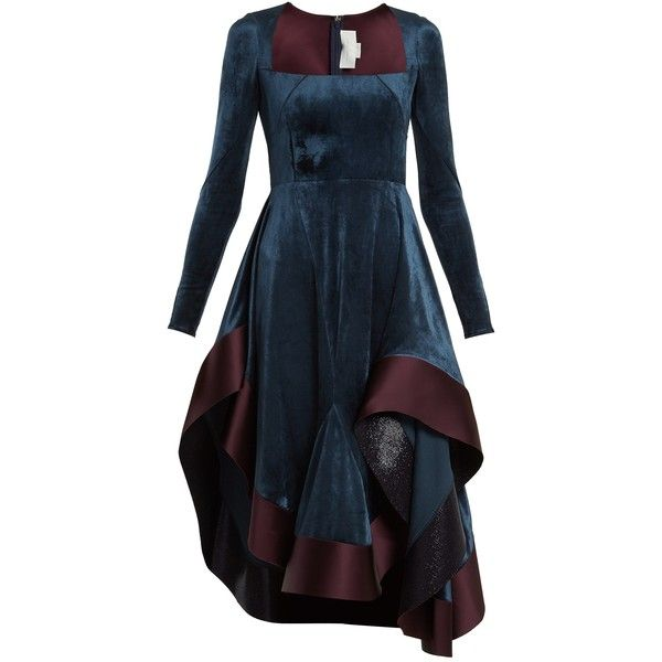 Esteban Cortázar Square-neck stretch-velvet dress ($2,153) ❤ liked on Polyvore featuring dresses, esteban cortázar, blue multi, going out dresses, stretch velvet dress, party dresses, stretchy dresses and velvet party dresses