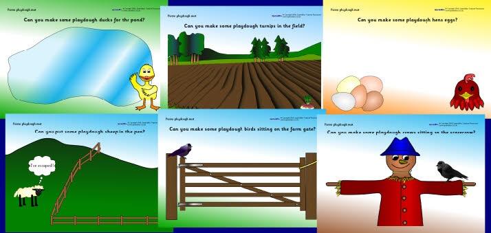 Farm Play Dough mat from SparkleBox
