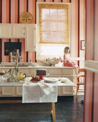 : New Home, Little Girls, Kitchens Tables, Pink Kitchens, Colors Kitchens, Stripes, Domino'S Magazines, Beautiful Things, Ice Cream Parlor