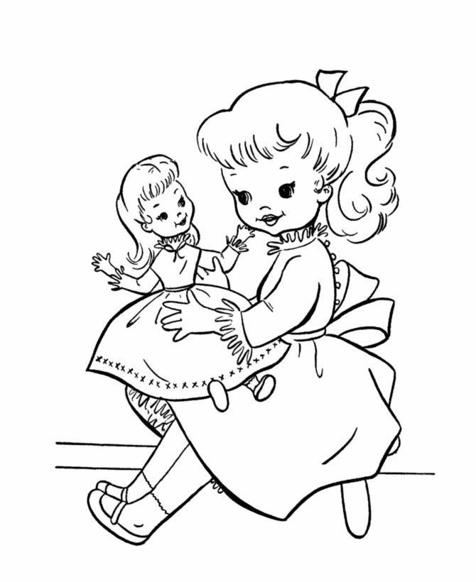 bluebonkers kids birthday party coloring page sheets playing with a baby doll birthday present free printable birthday party fun coloring pages - Baby Doll Coloring Pages Printable