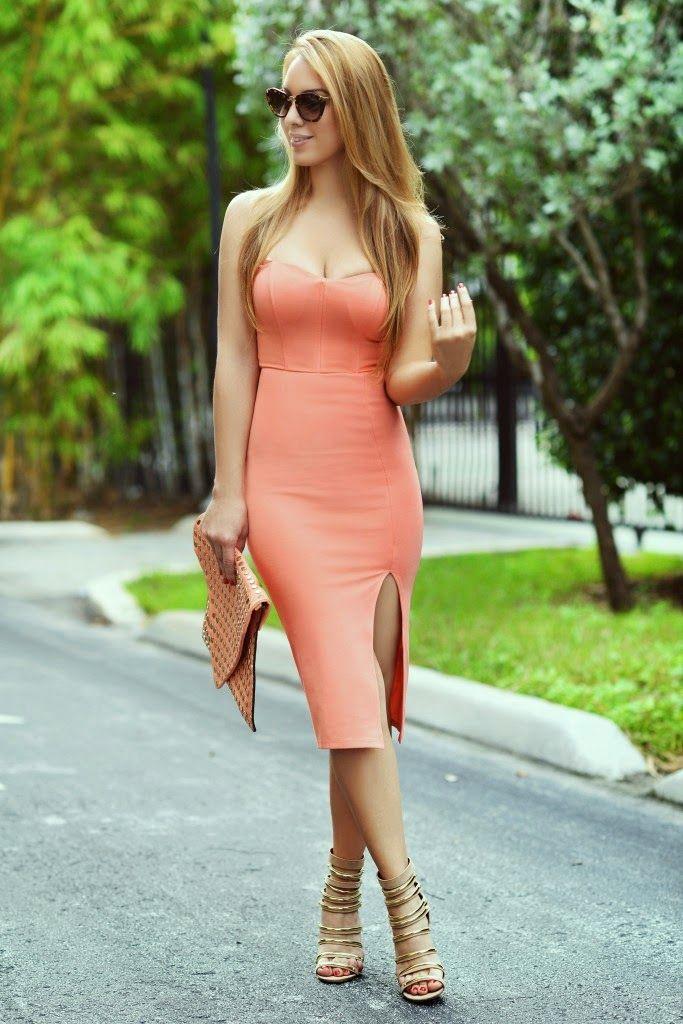 Feminine Fashions, Elegant and Trendy Pink Coral Dress