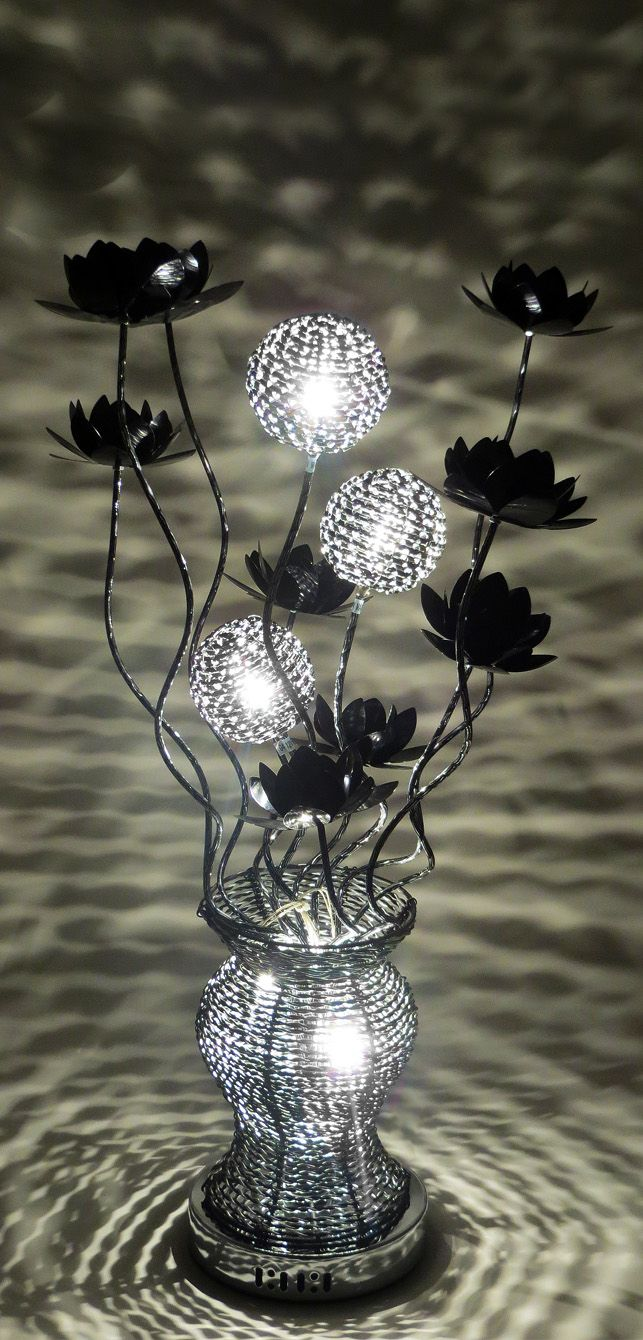80cm tall woven wire table lamp in silver with black for Black and silver lamps