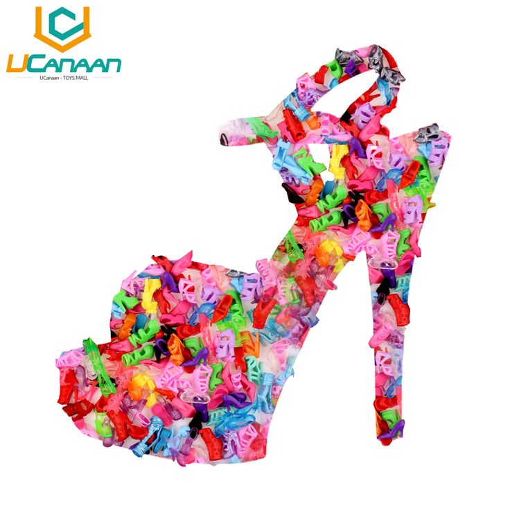 Free Shipping 10 Pair Fashion Colorful Accessories Shoes Heels Sandals For Barbie Clothes Dress Doll Best Gift Girl Baby Toys