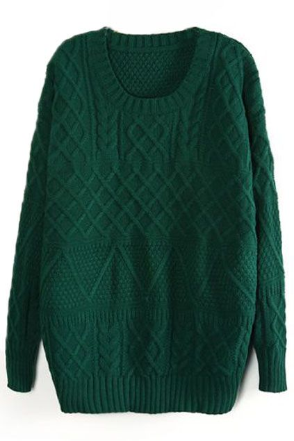 ROMWE | Loose Cable Green Jumper, The Latest Street Fashion