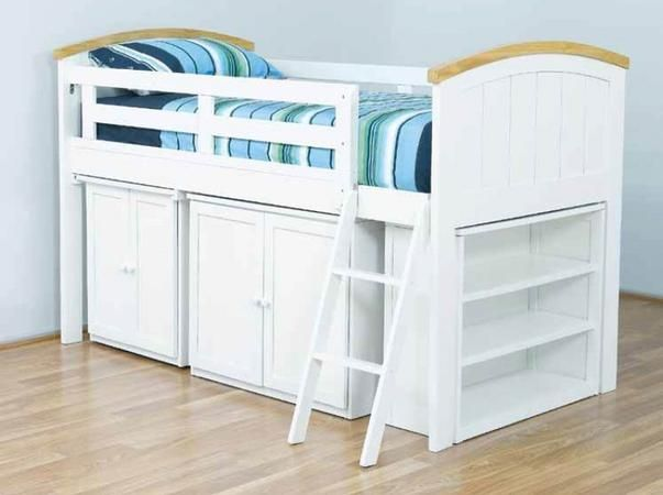 Beautiful Ranch Cabin Bunk Kids Bed. This bed comes with the top bed and goods under.  Single and King Single size in white colour only with top timber arch. The Ranch Cabin Features pull out desk, cupboard & bookcase with the ladder being reversible.  The Ranch Cabin Bunk is made