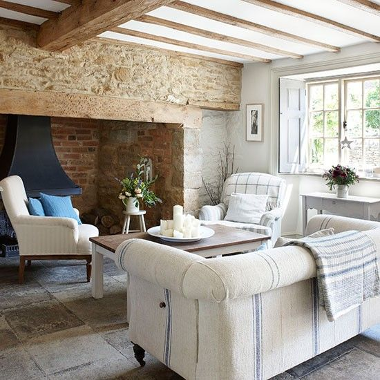 Inglenook with striped and checked seating | Neutral living room ideas | Living rooms | PHOTO GALLERY | Homes & Gardens | Housetohome.co.uk