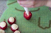 Deze gevulde aardbeien zijn perfect als dessert, maar ook gewoon lekker voor tussendoor! Ze zijn goddelijk!