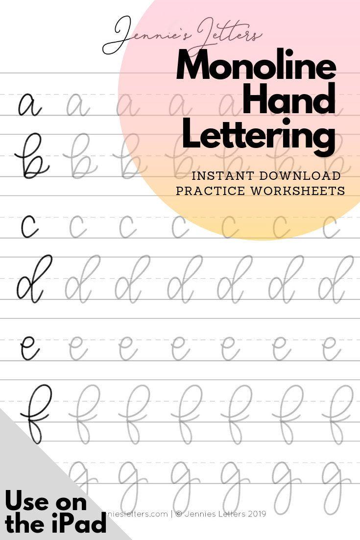 Hand Lettering Practice Worksheets Monoline Lowercase Alphabet Etsy Hand Lettering Practice Lettering Practice Hand Lettering Worksheet Handwriting practice sheets pdf ipad