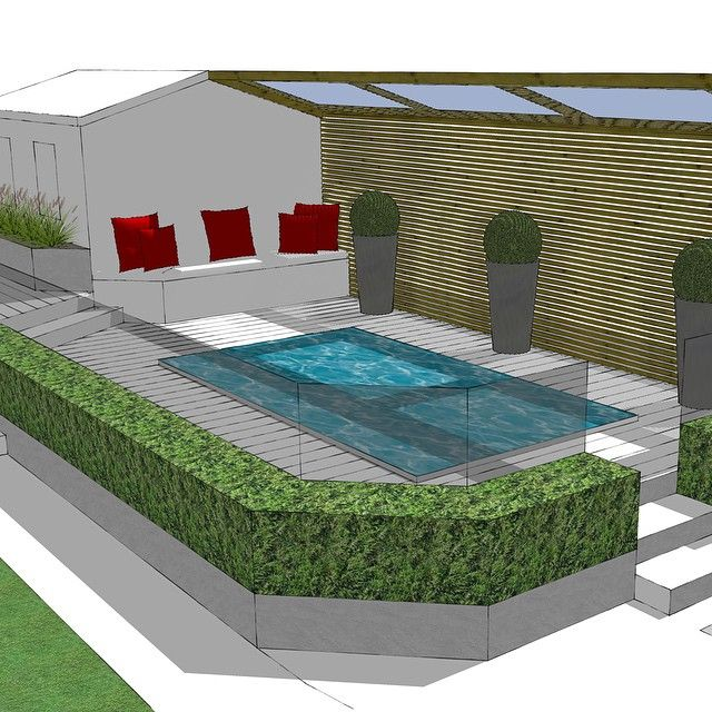 Swim spa area proposal plan. Screening from nosey neighbors!  @Hydropool_Spas #swimspa #gardendesign #Hampshire #CAD #cedar #planters