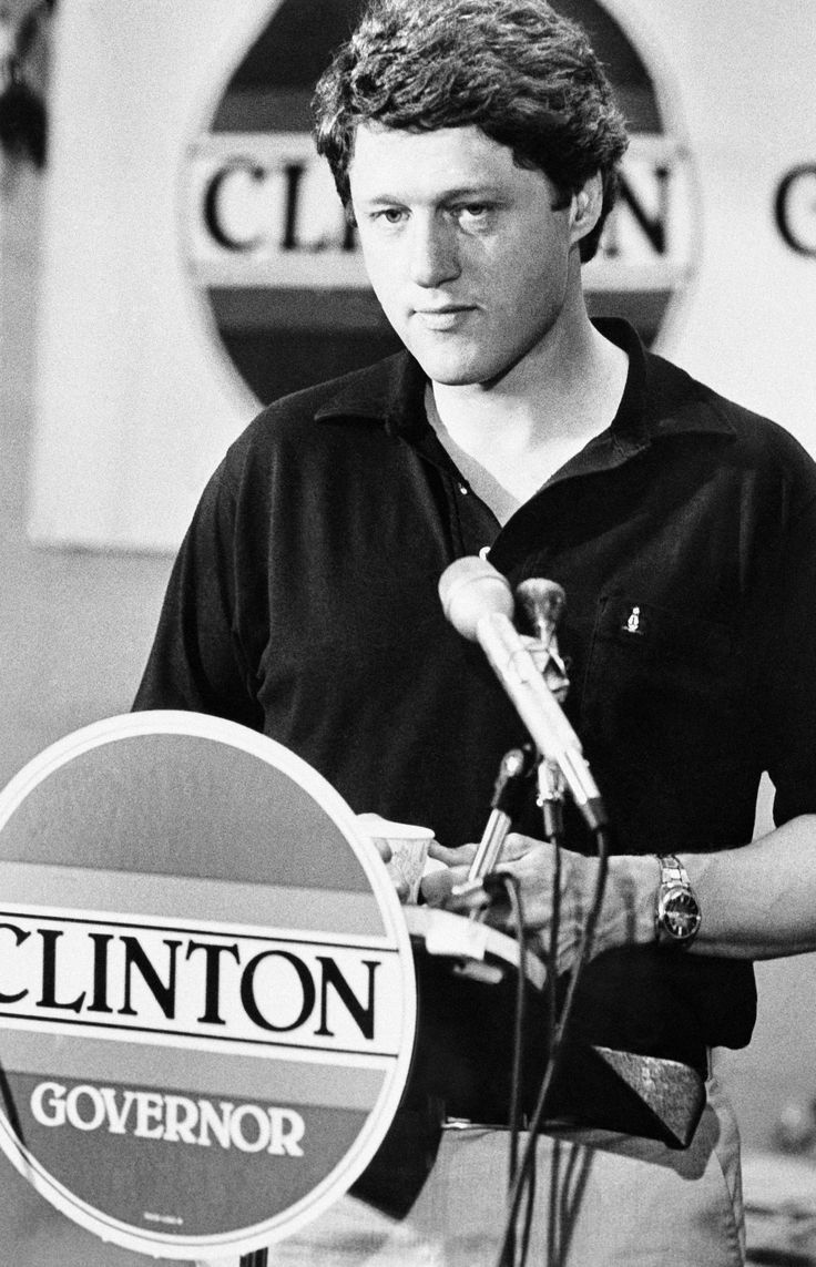 Bill Clinton, the Democratic nominee for governor, addresses reporters at a news…