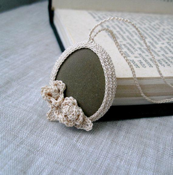 Crochet Stone Necklace - Crochet Jewelry - Roses Necklace - Beach Stone Pendant - Beach Wedding Necklace via Etsy