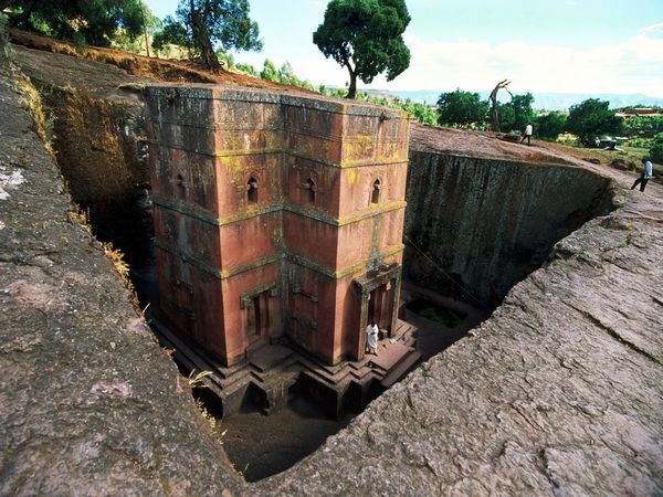 Lalibela Church, Ethiopia  The town of Lalibela in northern Ethiopia is renowned for 12 Christian churches that were hewed out of solid stone some 800 years ago. The most stunning is Bieta Giyorgis, shown here, a massive monolith 40 feet (12 meters) tall, intricately carved and shaped like a cross.