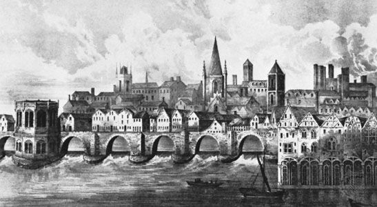 Old London Bridge, lithograph after a manuscript illumination of c. 1500