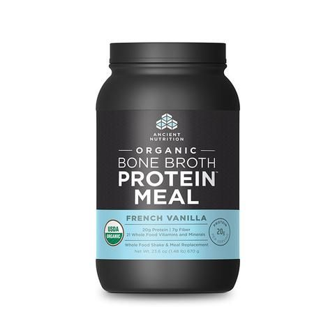 Organic Bone Broth Protein™ Meal French Vanilla | Dr. Axe Store - Add a scoop of this Bone Broth Protein Meal Replacement to your paleo smoothies for hours of energy with a filling protein power up and the added benefits of collagen!