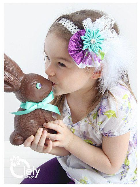 Purple Girl Headband Turquoise Headband Baby by OlelyDesign