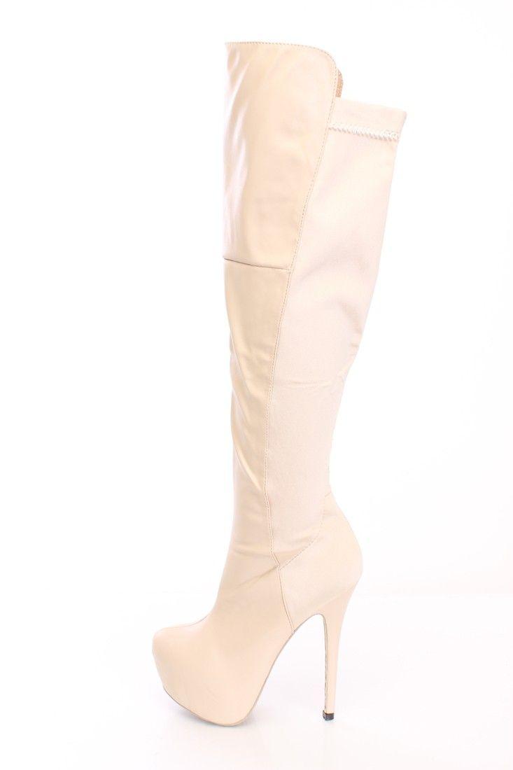 Name: Lillian White Almond Toe Platform Slip-on Stiletto Heel Knee-high Boots Price: $94.99