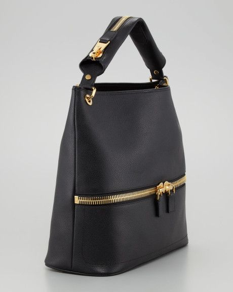 Tom Ford Bags for Women | Tom Ford Calfskin Hobo Bag in Black - Lyst