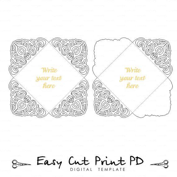 Lace Wedding invitation Card Template Four-fold envelope ...