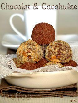 Mignardises : Truffes au chocolat noir & beurre de cacahuète