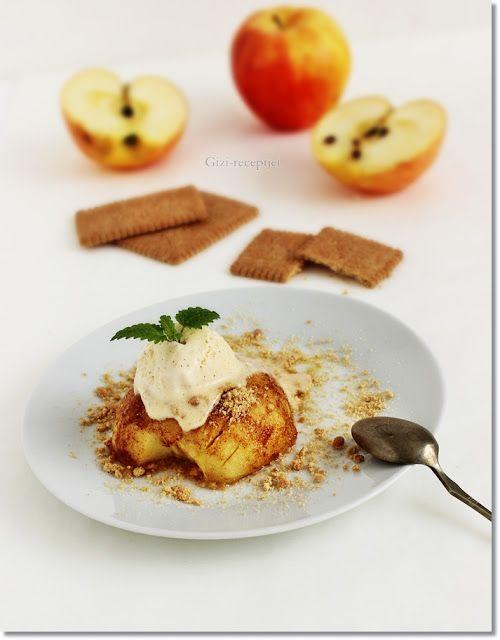 Gizi-receptjei.  Várok mindenkit.: Fahéjas sült alma kekszmorzsával és vanília fagyla...