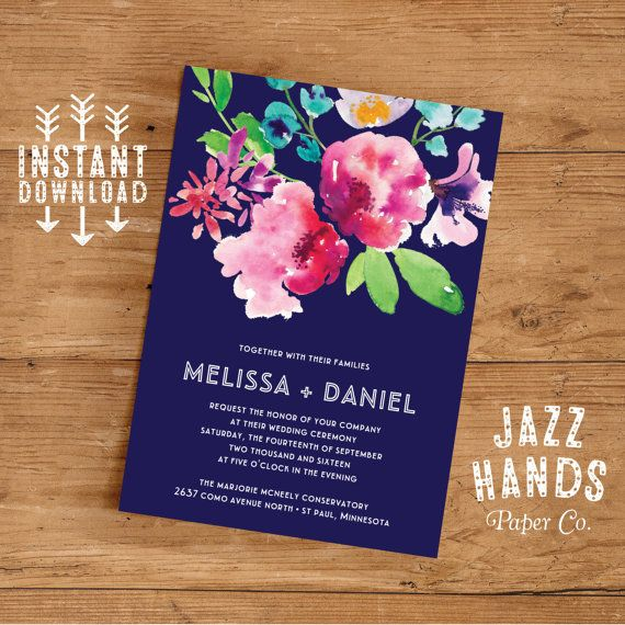 15 best printable wedding invitations images on pinterest wedding printable wedding invitation template set by jazzhandspaperco stopboris Image collections