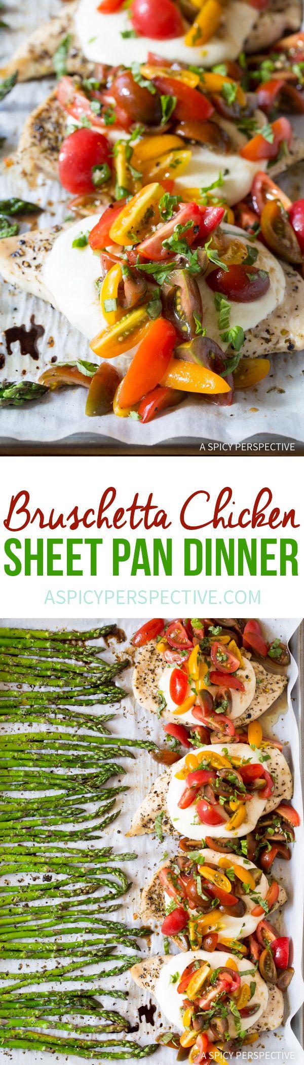 Cheesy Bruschetta Chicken Sheet Pan Dinner Recipe