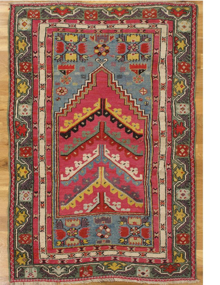 "Kirsehir prayer rug (48) (641)  5' 0"" x 3' 5"" (152 x 104 cm) Kirsehir prayer rug,Central Anatolia,circa 1880.Measurements of the piece:5'.0""x3'.5"" (152x104 cm) 