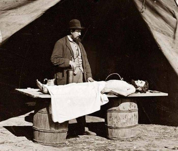 The embalming process, introduced in Europe a few decades earlier, became common in America during the Civil War.  Families often wanted the bodies of their deceased loved ones preserved for shipment so as to allow for proper burial close to home. Savvy morticians even went so far as to set up their embalming operations at the sites of battles.