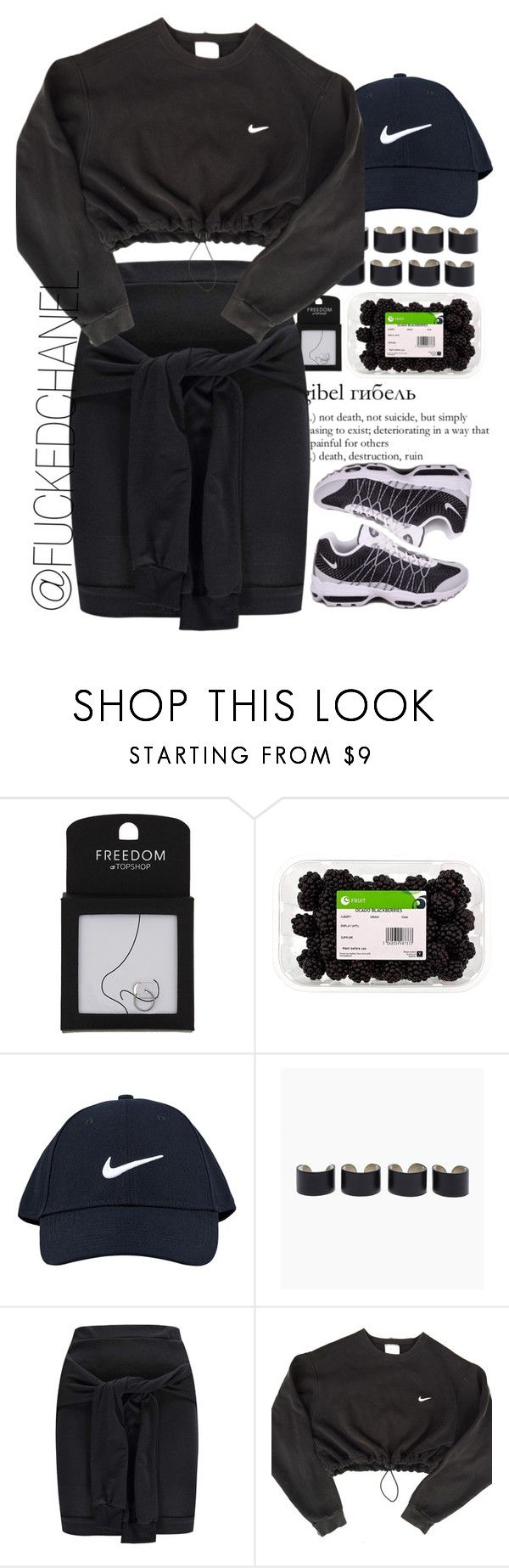 """""""Enfin en vacance !"""" by fuckedchanel ❤ liked on Polyvore featuring Topshop, NIKE, GE, Maison Margiela and Boohoo"""