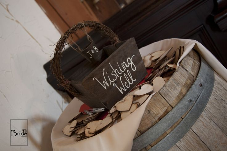 Wishing Well from Jenn & Blanca's wedding at the Bellamere Winery in London Ontario. Such a cute twist on the traditional guest book! Write a wish for the happy couple, sign your name and throw it into the well!