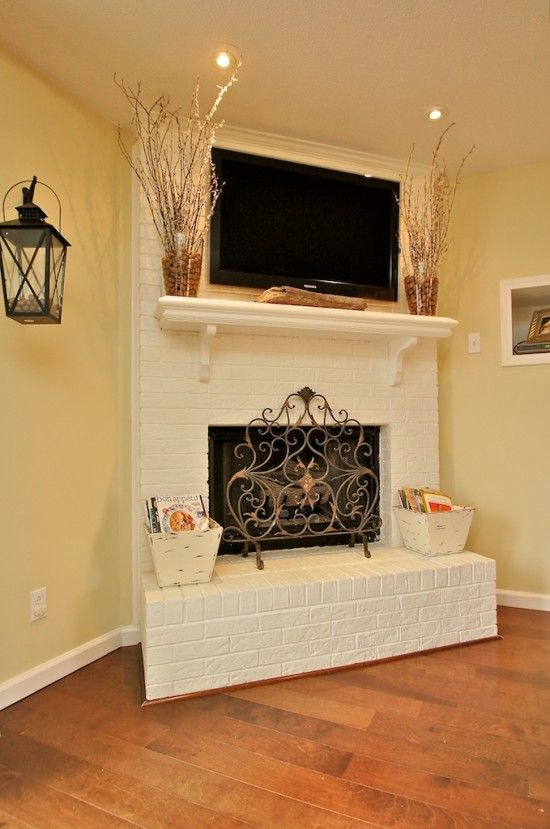 78 best images about painted white brick fireplaces on Corner fireplace makeover ideas