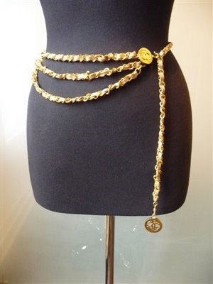 chanel belt. chanel 1980\u0027s three tier gold link and fawn leather belt