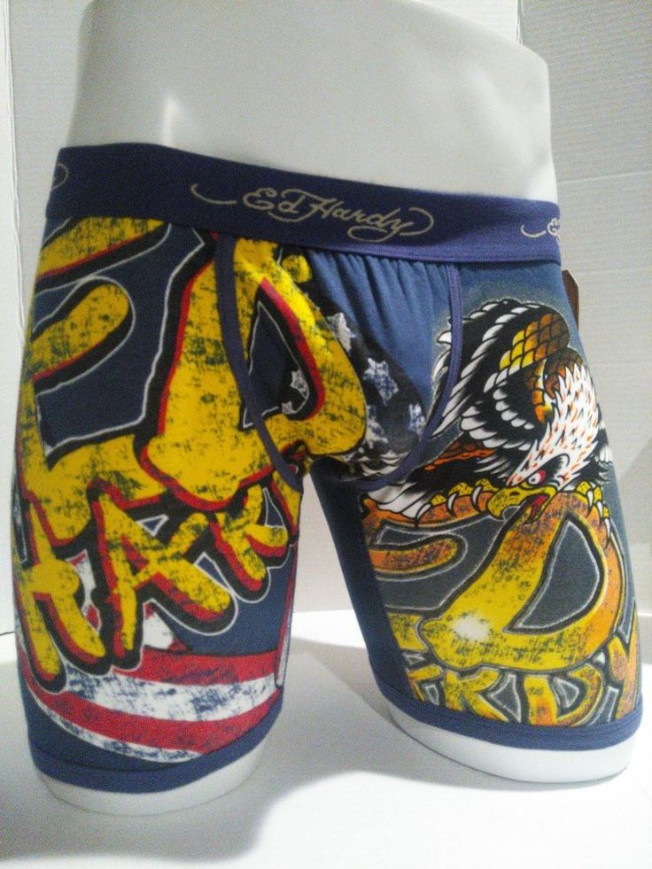 Ed Hardy Men's Underwear Navy Eagle Print  Boxer Briefs Size Small  #EdHardy #BoxerBrief
