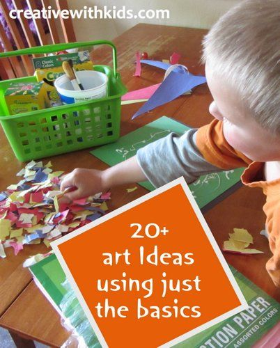 Basic art supplies for kids and 20 art ideas using these basics