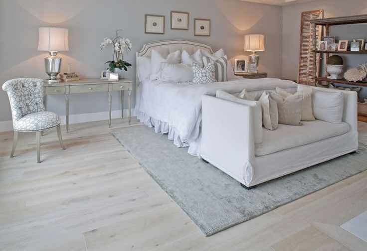 Wide Oak Plank Finished In White Creates That Warm French Boutique Feel In This Bedroom The Grey