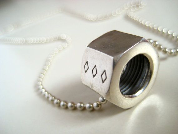 For her: Hex Nut Pendant by EstherChabotBijoux  http://www.oneofakindshow.com/toronto/artisans.php?id=512624&c=&d=