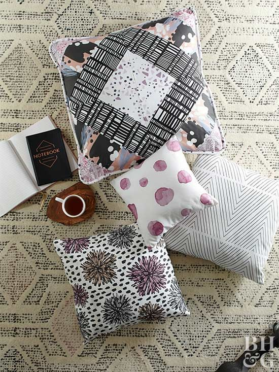 Fashion a large throw pillow by combining four fabrics for a dazzling diamond effect.