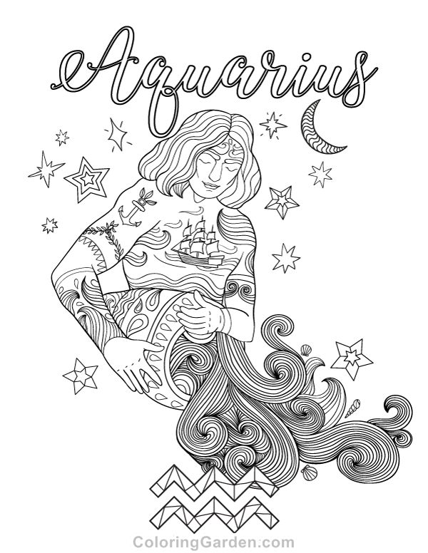 Free printable Aquarius adult coloring page. Download it in PDF format at http://coloringgarden.com/download/aquarius-coloring-page/