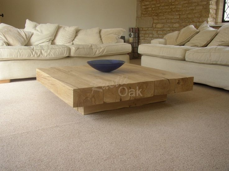 Coffee Table with Cube Base - Rustic Oak Furniture
