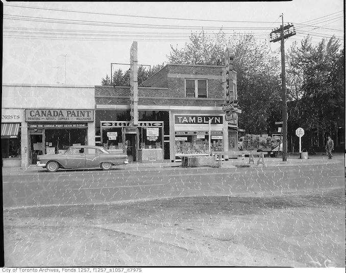 1958 - G. Tamblyn Ltd., drug store, 2772 Bloor Street West, New Kingsway Restaurant, 2994 Bloor Street West, and Canada Paint Co. Ltd., 2998 Bloor Street West, north side at Willingdon Boulevard