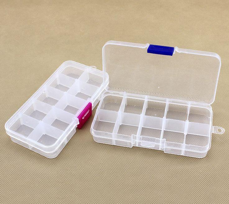 Pas cher En Gros 10 cellules Fentes En Plastique Réglable Bijoux De Stockage Box Case Artisanat Organisateur Perles Conteneurs pour Designer DIY Cadeau