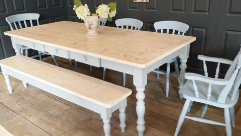 Lime Washed Farmhouse Table Made From Reclaimed Wood (price is for table only)