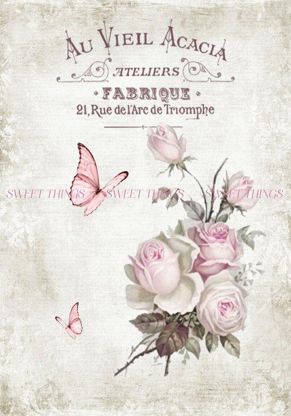 Au Vieil Acacia Vintage de la hoja de Collage Digital con Vintage flores, mariposas, Fabrique, Francés Letras