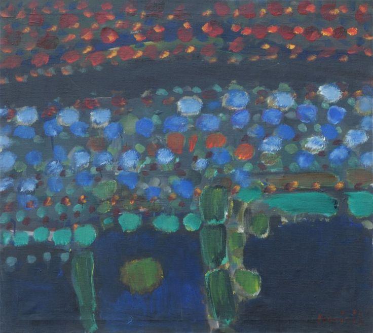 Kompozycja zielona natura II, 1965, olej na płótnie, 90 x 100 cm