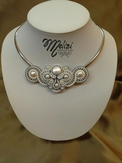 White soutache necklace.